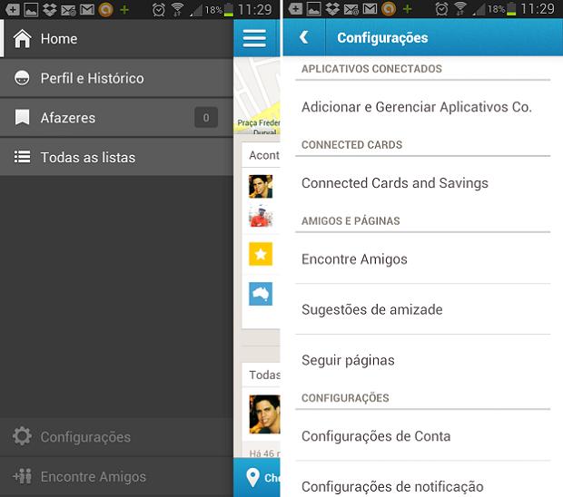 Notificações podem ser configuradas em menu do Foursquare (Foto: Reprodução Thiago Barros)