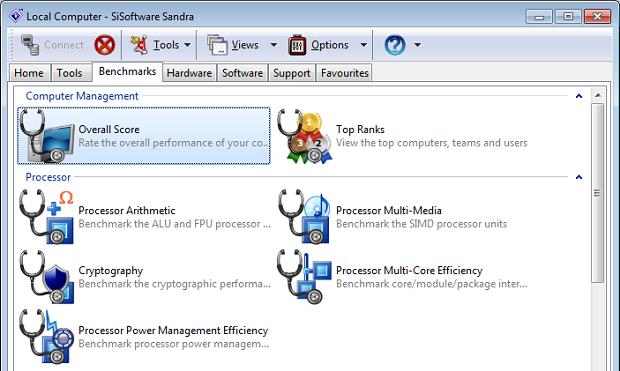 SiSoftware Sandra traz várias opções de benchmark (Foto: Reprodução/Edivaldo Brito)