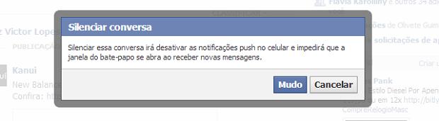Facebook pergunta se você quer mesmo silenciar a conversa (Foto: Reprodução/Thiago Barros)