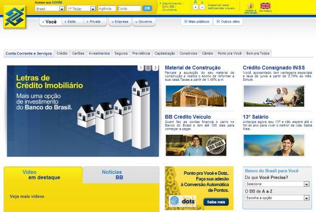 Site do Banco do Brasil (Foto: Reprodução)