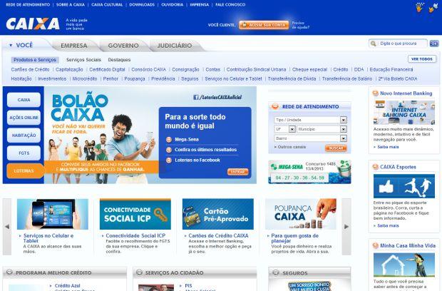 Site da Caixa Econômica Federal (Foto: Reprodução)