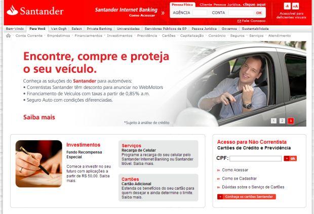 Site do Santander (Foto: Reprodução)