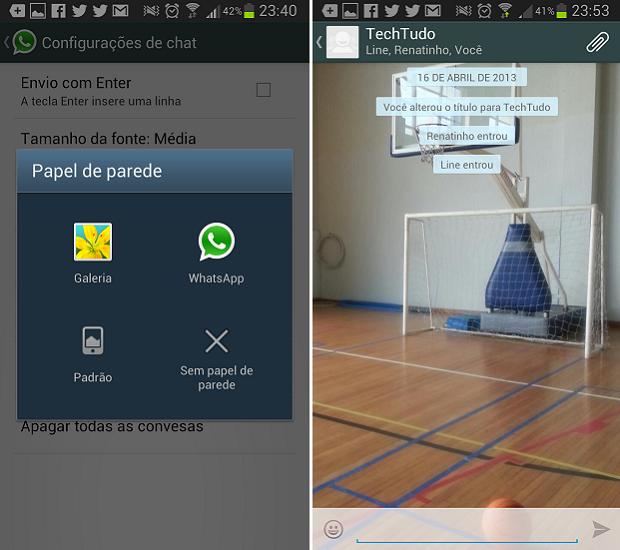 Trocar papel de parede deixa o WhatsApp mais personalizado (Foto: Reprodução/Thiago Barros) (Foto: Trocar papel de parede deixa o WhatsApp mais personalizado (Foto: Reprodução/Thiago Barros))