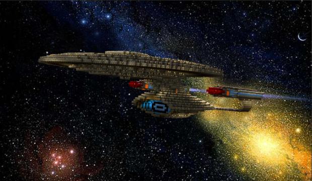 Montagem usando a réplica da nave (Foto: Reprodução/ Zinnsee)