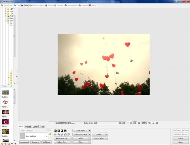 Tela inicial do editor do Photoscape (Foto: Reprodução/ Raquel Freire)