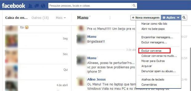 Excluindo uma mensagem inteira no Facebook (Foto: Aline Jesus/Reprodução)