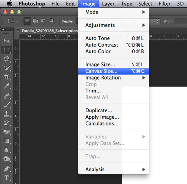Caminho dentro do Photoshop para alteração do tamanho do documento (Foto: Reprodução/André Sugai)