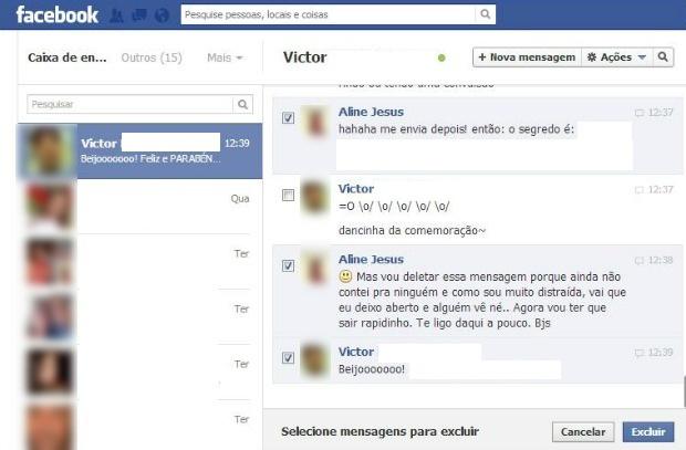 Excluindo trechos de uma conversa por mensagem no Facebook (Foto: Aline Jesus/Reprodução) (Foto: Excluindo trechos de uma conversa por mensagem no Facebook (Foto: Aline Jesus/Reprodução))