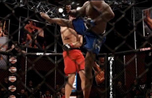 O lutador aplica um dos chutes de sua variada biblioteca de golpes (Foto: Reprodução/Fightland)