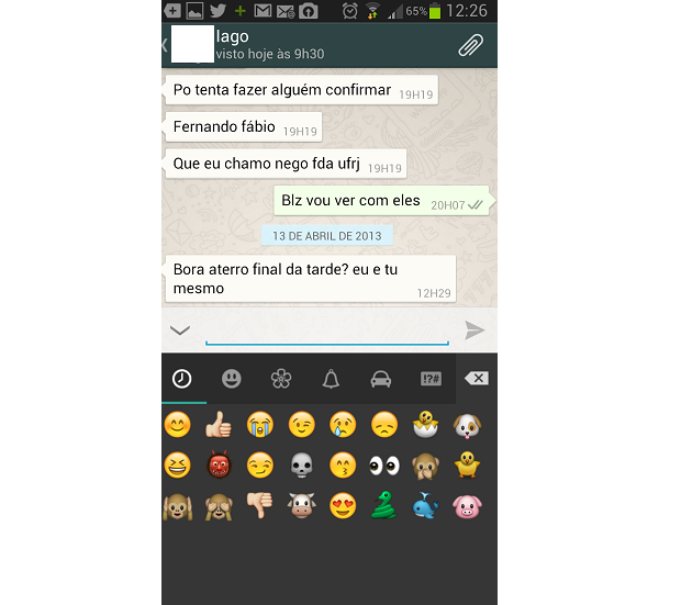 É possível publicar emoticons nas conversas (Foto: Reprodução/Thiago Barros)
