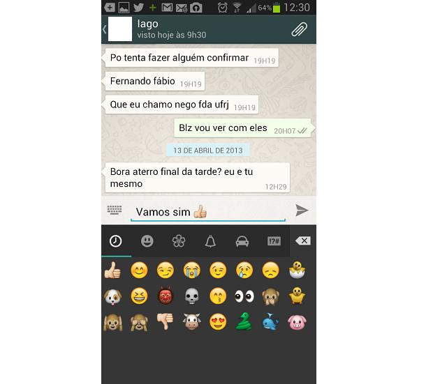 Inserir emoticons no WhatsApp é bastante fácil (Foto: Reprodução/Thiago Barros) (Foto: Inserir emoticons no WhatsApp é bastante fácil (Foto: Reprodução/Thiago Barros))