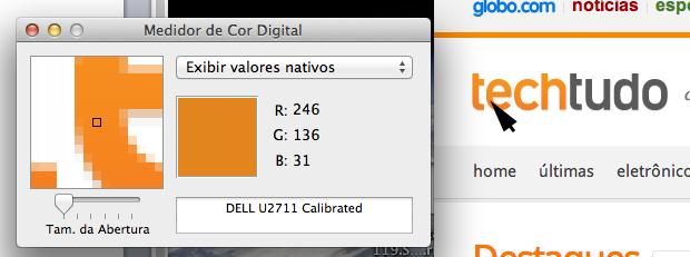Descobrindo o RGB do laranja do TechTudo (Foto: Reprodução/Hugo Carvalho)