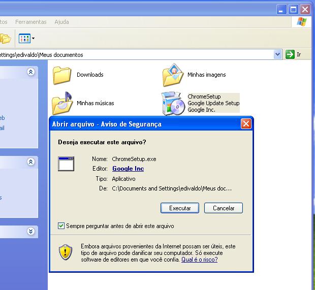 Executando e autorizando o instalador do Chrome (Foto: Reprodução/Edivaldo Brito)