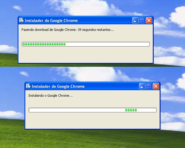 Instalação do Chrome em progresso (Foto: Reprodução/Edivaldo Brito)