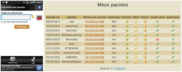 EncontreSeuPacote (Imagem: Reprodução / Daniel Pinto)