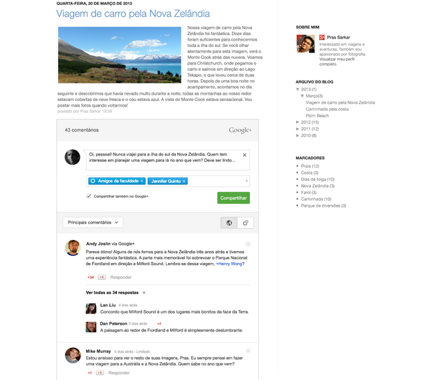 Integração permitirá o compartilhamento dos comentários do Blogger no Google+ (Foto: Divulgação/Google)