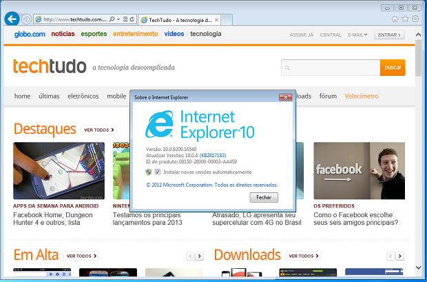 Internet Explorer 10 depois de instalado (Foto: Reprodução/Edivaldo/Brito)