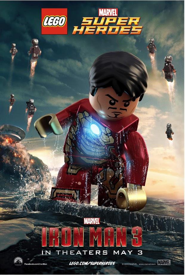 Homem de Ferro recriado com Lego faz pose no pôster do filme  (Foto: Divulgação)