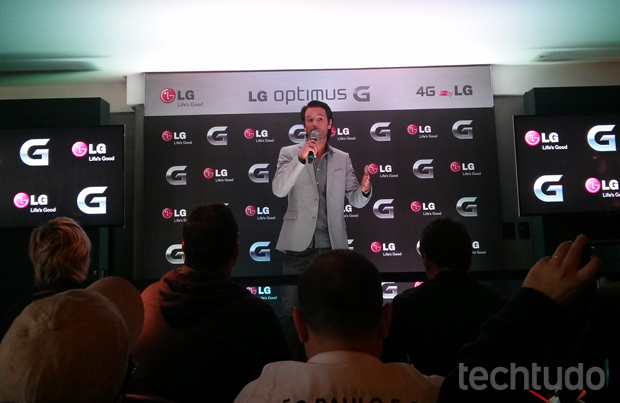 """Rodrigo Santoro é um dos """"embaixadores"""" da LG no lançamento do Optimus G (Foto: Isadora Díaz / TechTudo)"""