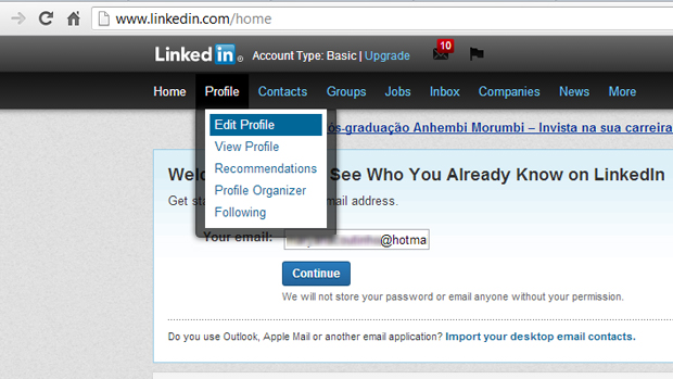 Faça login e edite seu perfil (Foto: Reprodução)