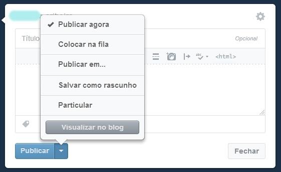 Selecionando a opção de programar um post no Tumblr