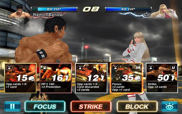 As lutas de Tekken ganham uma pitada de estratégia em Card Tournament (Foto: Divulgação)