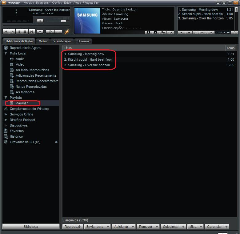 Localize a playlist no Winamp que você deseja sincronizar (Foto: Thiago Bittencourt/TechTudo)