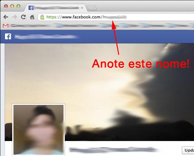Anotando o identificador do Facebook (Foto: Reprodução/Hugo Carvalho)