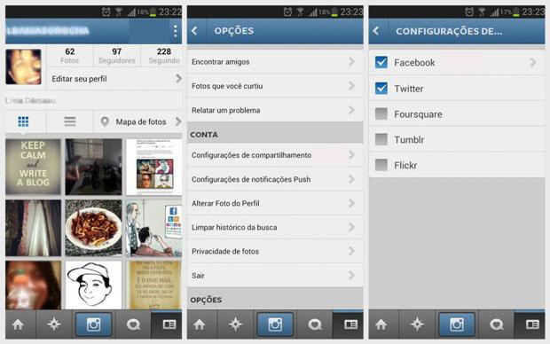 Telas do aplicativo do Instagram (Reprodução/Lívia Dâmaso)