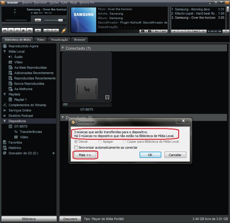 """Clique no botão """"Mais"""" para selecionar as músicas a serem transferidas (Foto: Thiago Bittencourt/TechTudo)"""