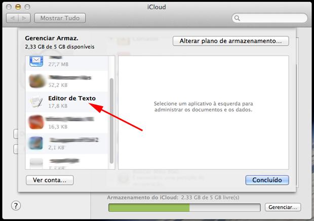 Selecionando um aplicativo do iCloud (Foto: Reprodução/Hugo Carvalho)