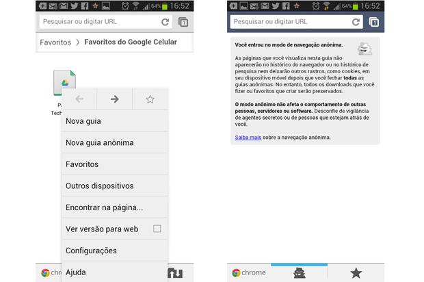 Google Chrome oferece navegação anônima em sua versão móvel para Android e iOS (Foto: Aline Jesus/TechTudo)