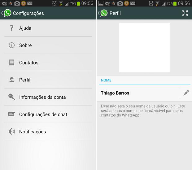 Perfil pode ser alterado no menu de configurações (Foto: Reprodução Thiago Barros)