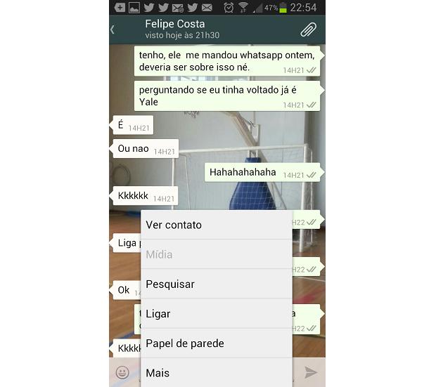 Pesquisar é um recurso bem interessante do WhatsApp (Foto: Reprodução/Thiago Barros)
