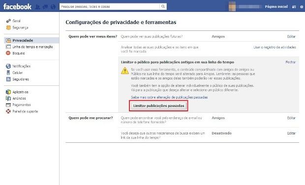 Configurações de Privacidade do Facebook (Foto: Reprodução/Lívia Dâmaso)