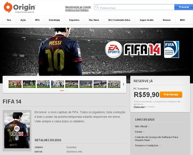 Fifa 14 já está em pré-venda na loja digital Origin por R$ 59,90 (Foto: Reprodução)