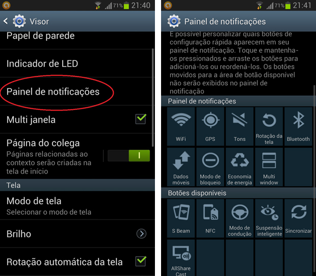 """Galaxy S3 reune atalhos disponíveis e exibidos no menu """"Painel de Notificações"""" (Foto: Daniel Ribeiro/TechTudo)"""