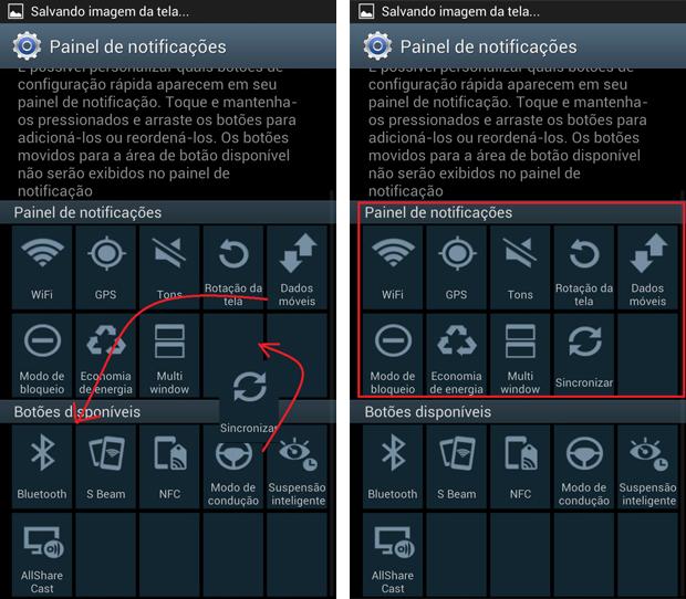 Galaxy S3 oferece a opção de deslizar os atalhos de acordo com a sua exibição (Foto: Daniel Ribeiro/TechTudo)
