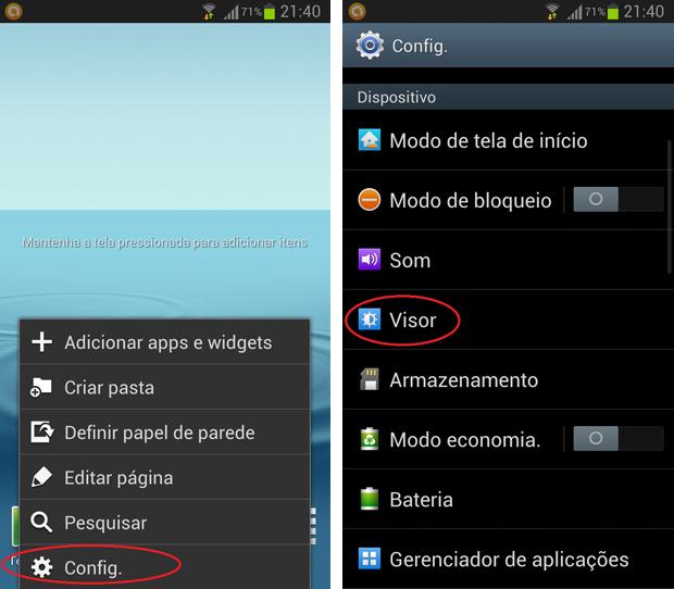 Galaxy S3 tem atalho para a página de configurações em sua tela inicial através do botão de menu (Foto: Daniel Ribeiro/TechTudo)