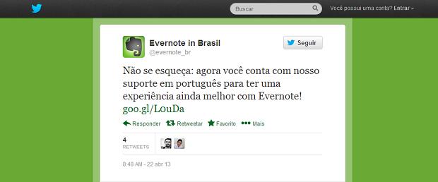 Evernote anuncia no Twitter suporte em português para o Brasil (Foto: Reprodução Twitter / Melissa Cruz)