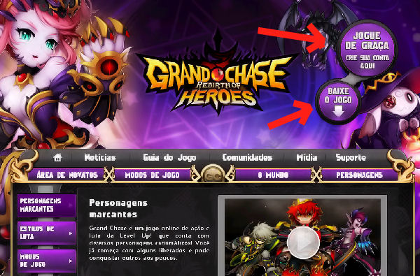 Página principal do site de Grand Chase (Foto: Divulgação)
