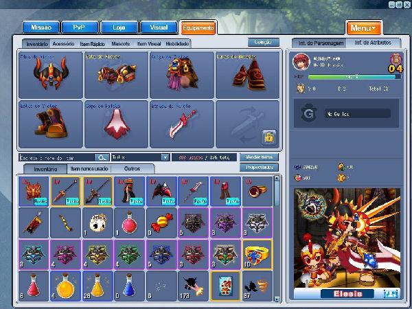 Imagem do menu de equipamentos de Grand Chase (Foto: Reprodução / TechTudo)
