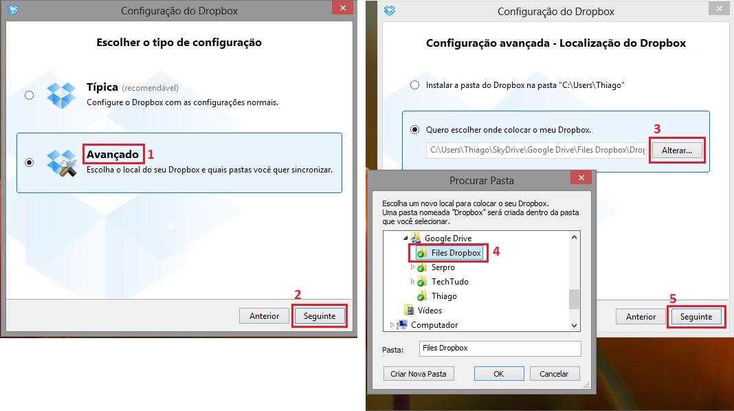 """Crie a pasta """"File Dropbox"""" dentro do diretório """"Google Drive"""" (Foto: Reprodução/Thiago Bittencourt)"""