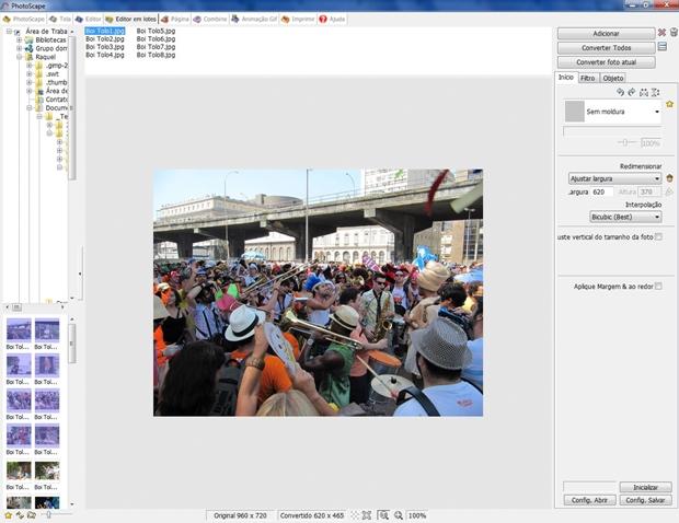 """Área de trabalho do """"Editor em Lotes"""" com fotos selecionadas (Foto: Reprodução/ Raquel Freire)"""