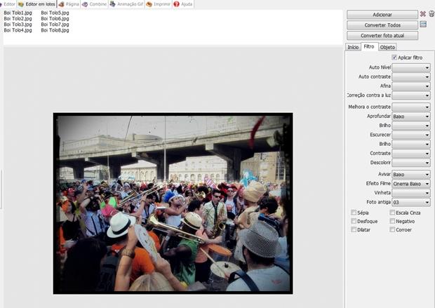 """Aba """"Filtro"""" do Editor em Lotes do Photoscape (Foto: Reprodução/ Raquel Freire)"""