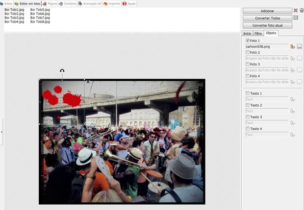 """Aba """"Objeto"""" do Editor em Lotes do Photoscape (Foto: Reprodução/ Raquel Freire)"""