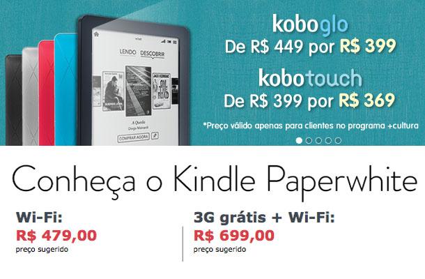 Preços do Kobo Glo e do Kindle Paperwhite (Foto: Divulgação)