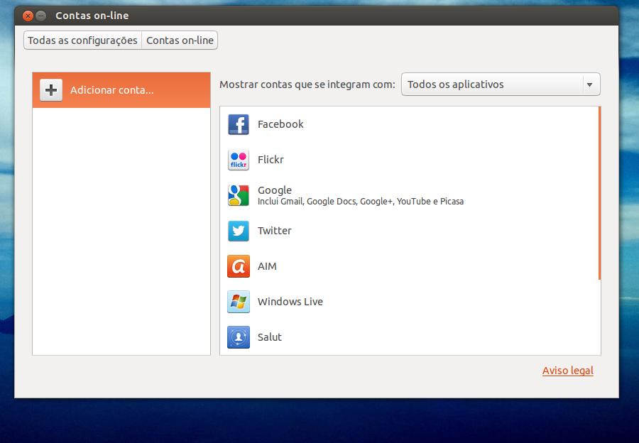 """Opção """"contas on-line"""" do Ubuntu 13.04 (Foto: Reprodução/ Edivaldo Brito)"""