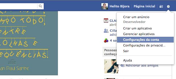 Acessando configurações do Facebook (Foto: Reprodução/Helito Bijora)