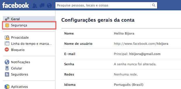 Configurações do Facebook (Foto: Reprodução/Helito Bijora)